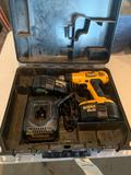Dewalt 18 VXR + NICD adjustable clutch cordless drill with two batteries and one charger in case.