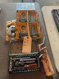 Tubing cutter, 1/4'' square drive 34 piece hex screw socket set, Milwaukee 1''' power auger, 2 pilot
