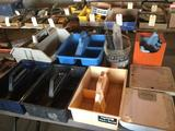 5 plastic carrying cases, Larson door parts, 2 floor scales, shop towels. No shipping
