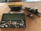 Miscellaneous tools/sockets and toolbox, flooring installation kit, small and large wood planes. No