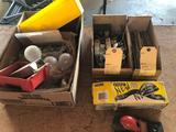 Stanley plane, gutter parts, 2'' ball , hinges, miscellaneous screws, light sockets and bolts. No