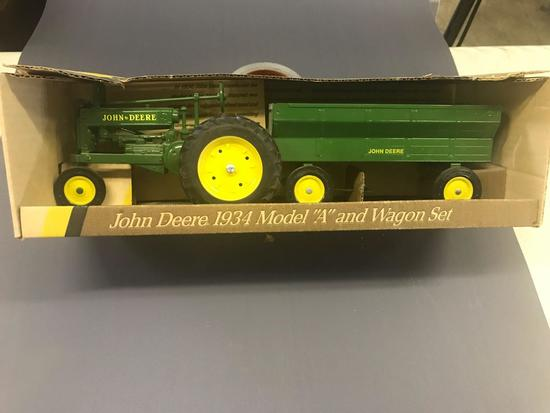 1/16 Scale 1934 JD A Tractor and Wagon Set - NIB