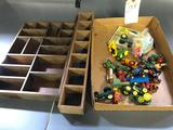 Assortment of 1/64th Tractors and wood shelves