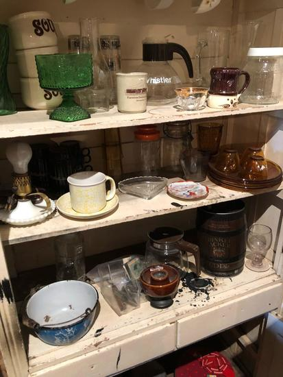 Various kitchen items, incl. soup cups, coffee mugs, yellow depression luncheon set, tins, (6) 8oz.