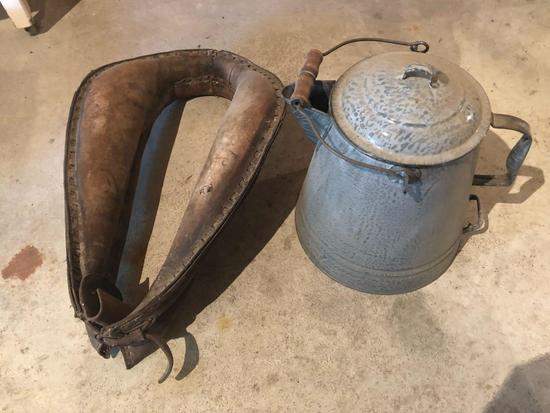 20'' Horse collar and gray enamel coffee pot