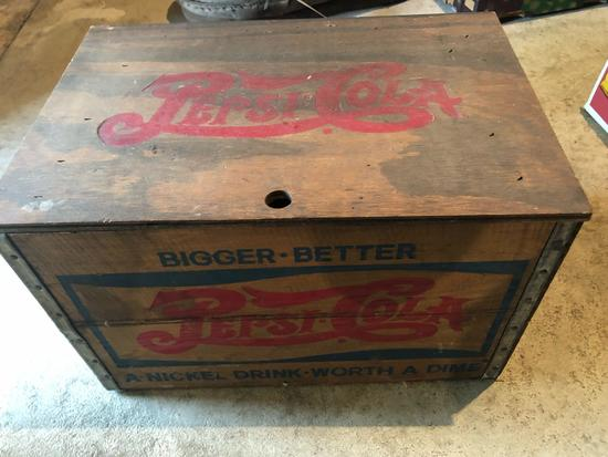 18'' W x 12'' D x 11.5'' H lidded wood Pepsi box - inside of lid is a checkerboard.