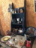 17.5'' W x 36'' H tiered wainscot painted shelf and misc. kitchen items