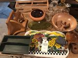 Solid wood bowl/salad fork set, wood corner shelf, wood tray, glassware, placemats, and more.