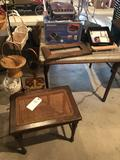 Electric grill, wicker-top vanity seat, pedestal hanger w/variety of baskets, & card table