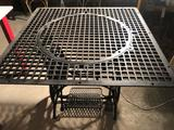 34'' square cast iron grate, mounted on cast iron treadle sewing machine base ~ Unique! No Shipping.