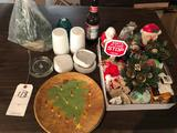Various Christmas items, glass insulator, Hobnail pieces, and more.