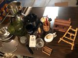 Coffee peculator, large stemmed candy dish, various kitchen items.
