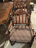 58'' W x 45'' L solid wood table w/scrolled pedestal legs and (4) ornate cloth seat chairs. - Nice