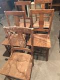 (5) Old solid wood chairs - No Shipping!
