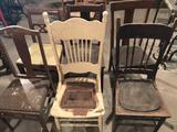 (6) Old wood chairs, some w/wicker seats, leather seats ~ in average condition. No Shipping!