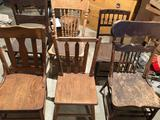 (6) Older solid wood chairs, some spindle-back & others - No Shipping!