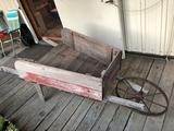 Decorative wood wheelbarrow, made w/barn siding & steel wheel - No Shipping!