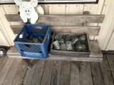 Homemade wood bench and (2) boxes of glass insulators - No Shipping!