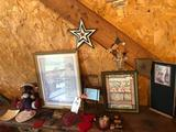 Pictures, decorative wall hangings, and Christmas items.