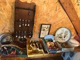 Lidded casserole dish, souvenir spoons/holder, glass Atlas jar lids, various old utensils/knives,