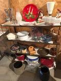 4-shelf, 37'' W x 33'' H metal shelving unit includes all items on shelves (meat grinder, bud vases,