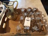 Beautiful gold-rimmed water pitcher w/(14) rose design, etched, stemmed water glasses - Beautiful
