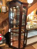 Beautiful modern etched-glass 21'' corner curio display case, lighted, 78.5'' H ~ Very Nice