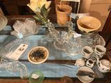 O'Brien Co. Creamery pitcher, #6 Watt Adrian Co-Op Creamery bowl, McCoy tulip vase, green glass