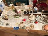 Glass vases, Ruby vase, miniature cups and saucers, many small knick-knacks, and much more!