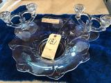 Matched glass set w/bowl & (2) candle holders