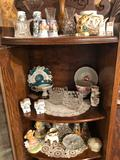 Various salt/pepper sets, small vases, fancy cups/saucers, cream and sugar sets, and more!
