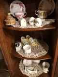 Fancy cup/saucer sets, salt/pepper shakers, porcelain vases, matching cream and sugar, tooth pick