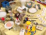 Grape-design lidded milk-glass candy dish, M&M dispenser, fancy saucers, some silverware, and more!
