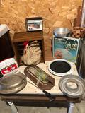 Wooden egg crate, humidifier, various tin and silver-lidded casserole