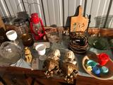 Painted Junior Dietz #20 gas lantern, old electric iron, glass bowls, bud vases, and more!