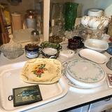 Blue enamel pie plate, large vases, cream & sugar, milk glass, mustache cup, and more.