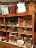 Enamel black-trim handled coffee pot, bird house, plow-boy tin, dishes, and more!