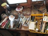 3-legged wood floor lamp, various kitchen items, old utility knives, glass cake dish, and more!
