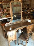 Vintage 43'' W x 18'' D x 64.5'' H mirrored, vanity dresser w/chair ~ Nice condition. No Shipping!