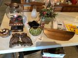 Budweiser bubblegum/candy machine, telephone w/caller ID, artificial plants, vases, glass chimneys,