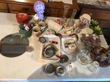 Misc. kitchenware and (2) smaller vintage kitchen strainers.