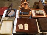 Wood baskets, several picture frames and silverware chest.