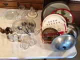 Vinegar cruets, silver tablespoons, metal/enamel lids & pie plates, relish dish, metal cookie