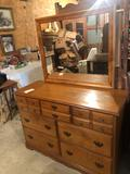 50'' W x 19'' D x 66.5'' H solid maple mirrored wood dresser ~ Nice condition! No Shipping.