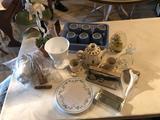 (6) Cornell stoneware dishes, vinegar cruet, teapot, doughnut-maker, small corner shelf, milk glass,
