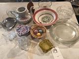 Tea pot (no lid), glass pie plates, ash tray, and more!