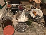 Variety of glass & fancy dishes, candles, sm. perc. coffee pot, Polaroid camera, and more!