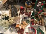Lighted church building w/wind-up music; variety of Christmas decor, Santa Claus in box, & more