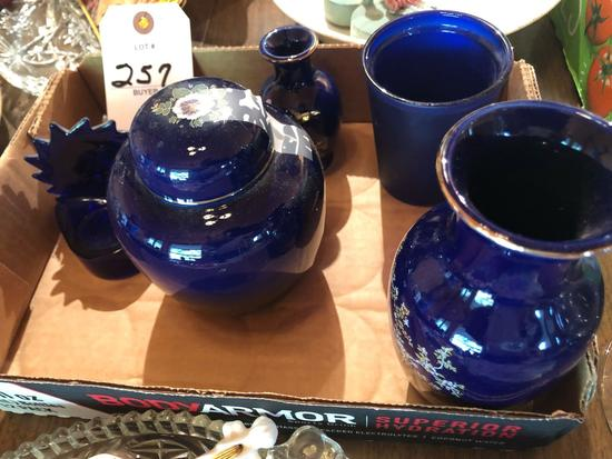 Cobalt blue items ~ drinking glass, vase, lidded container, and other items