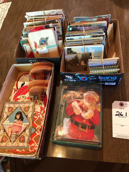 Many various post cards of various states, Christmas & Valentine (1938, 1939, and 1940) cards, and